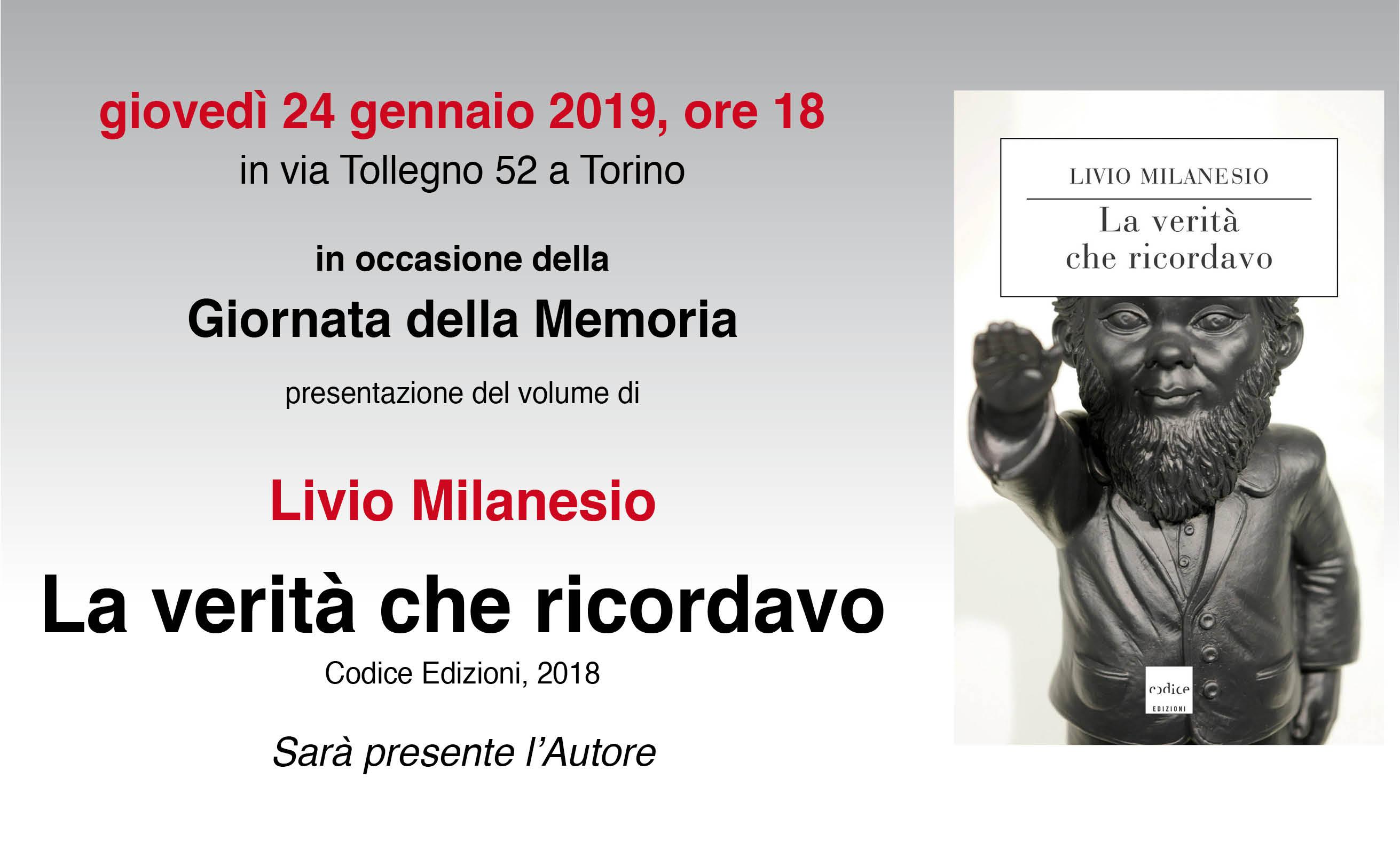 """In Occasione Della Giornata Della Memoria Presentazione Del Volume """"La Verità Che Ricordavo"""""""
