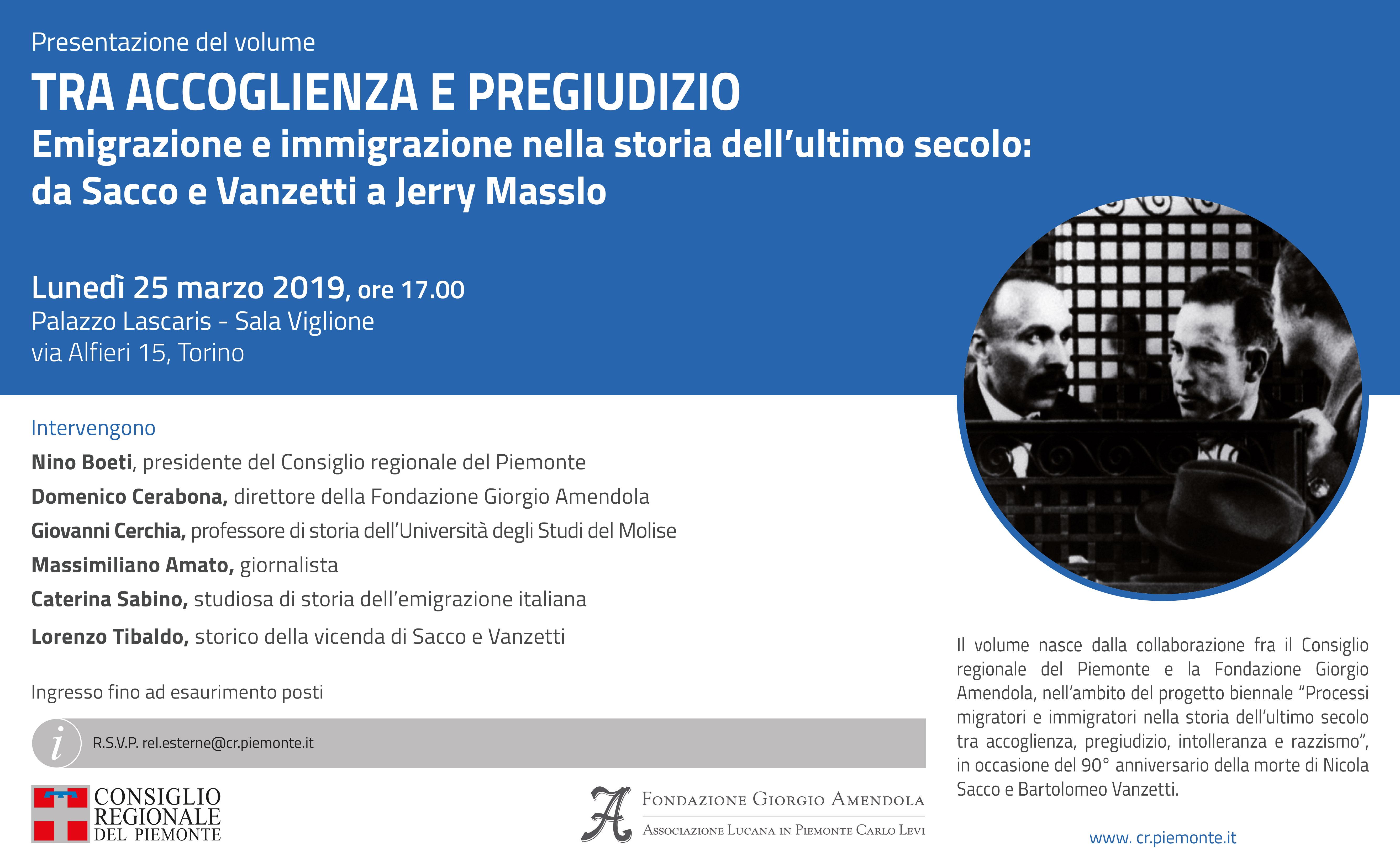 """Presentazione del libro """"Tra accoglienza e pregiudizio"""" 25 marzo 2019, ore 17,00 presso il Consiglio Regionale del Piemonte"""