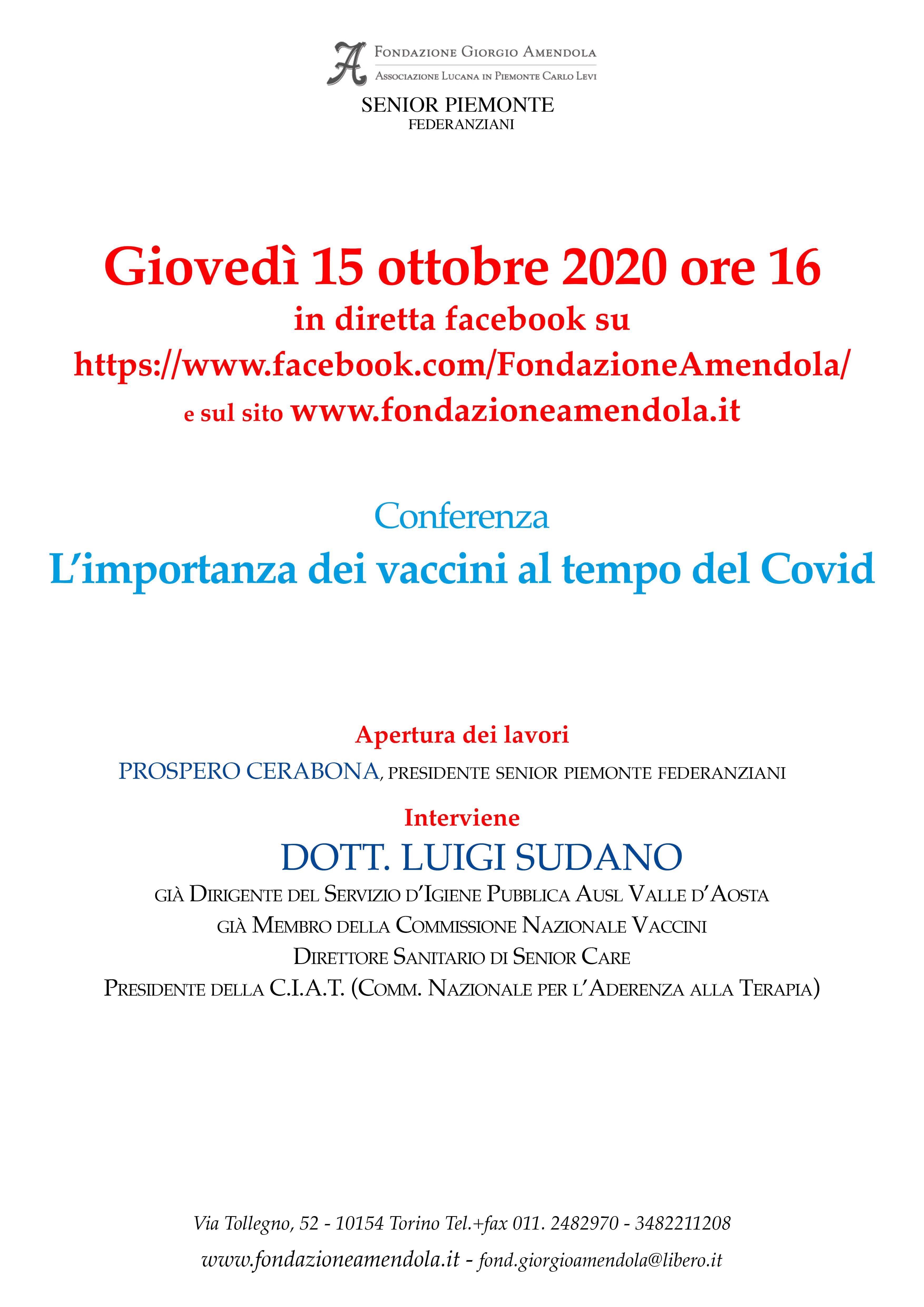 L'importanza Dei Vaccini Al Tempo Del Covid – 15 Ottobre 2020 Ore 16