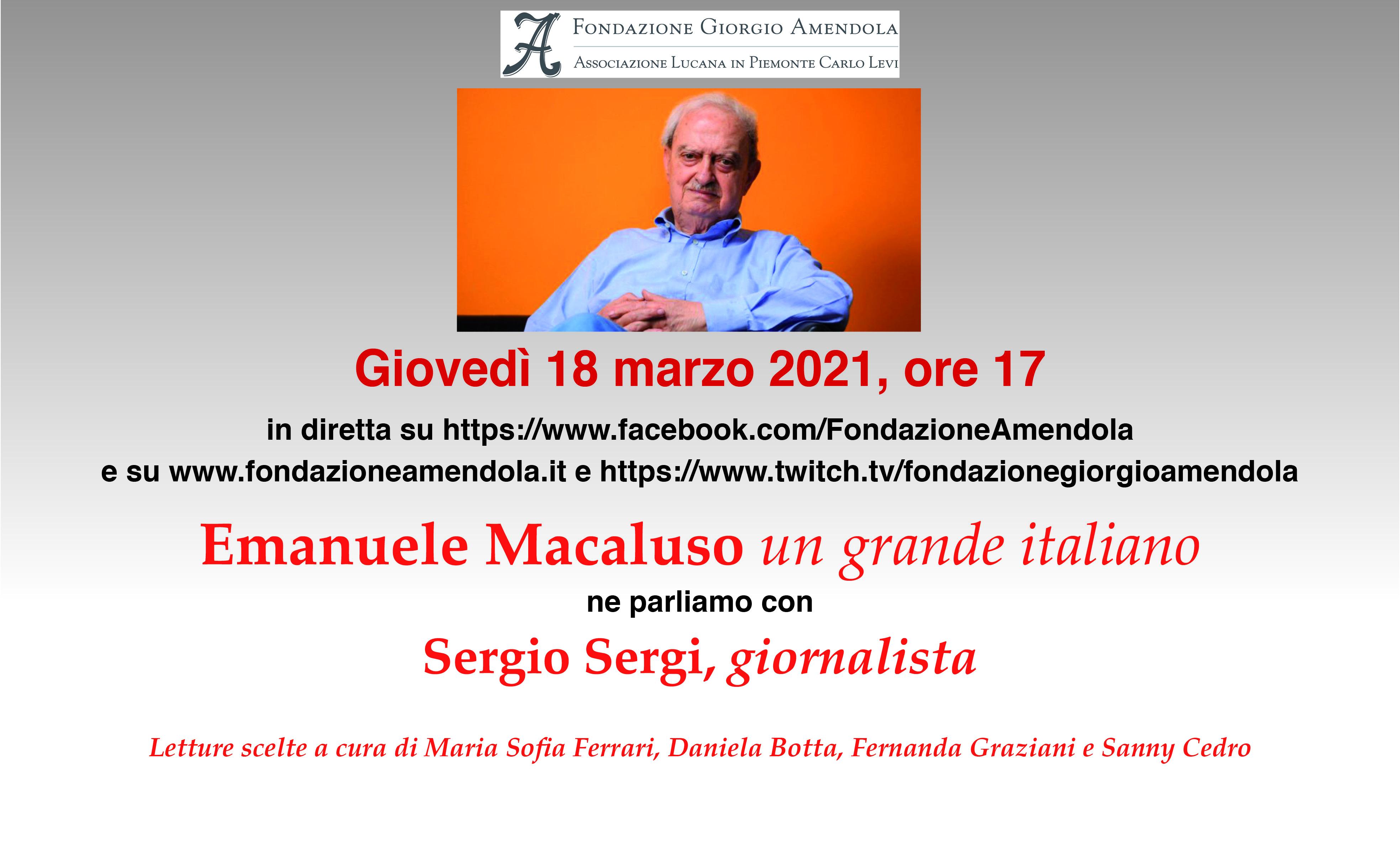 18 Marzo: Emanuele Macaluso Un Grande Italiano Ne Parliamo Con Sergio Sergi